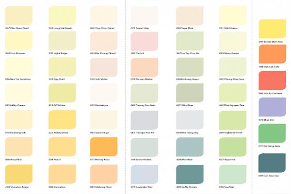 Bảng màu sơn Dulux trong nhà