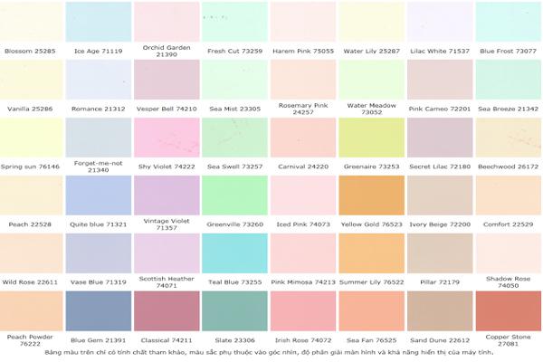 Bảng màu sơn nội thất Maxilite