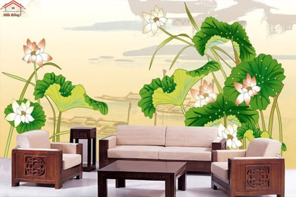 Trang trí phòng khách bằng tranh tường