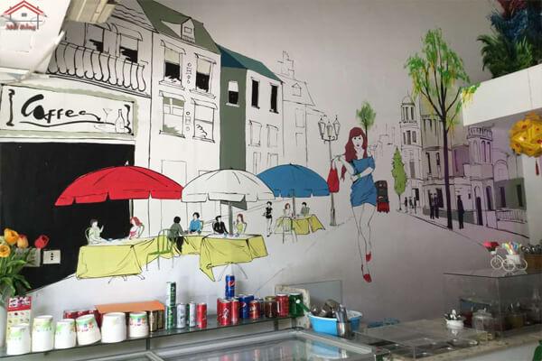 Tranh tường trang trí cho quán cà phê